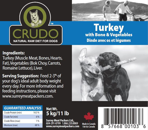 Crudo Turkey with Bone & Vegetables | Dog (11 lbs)