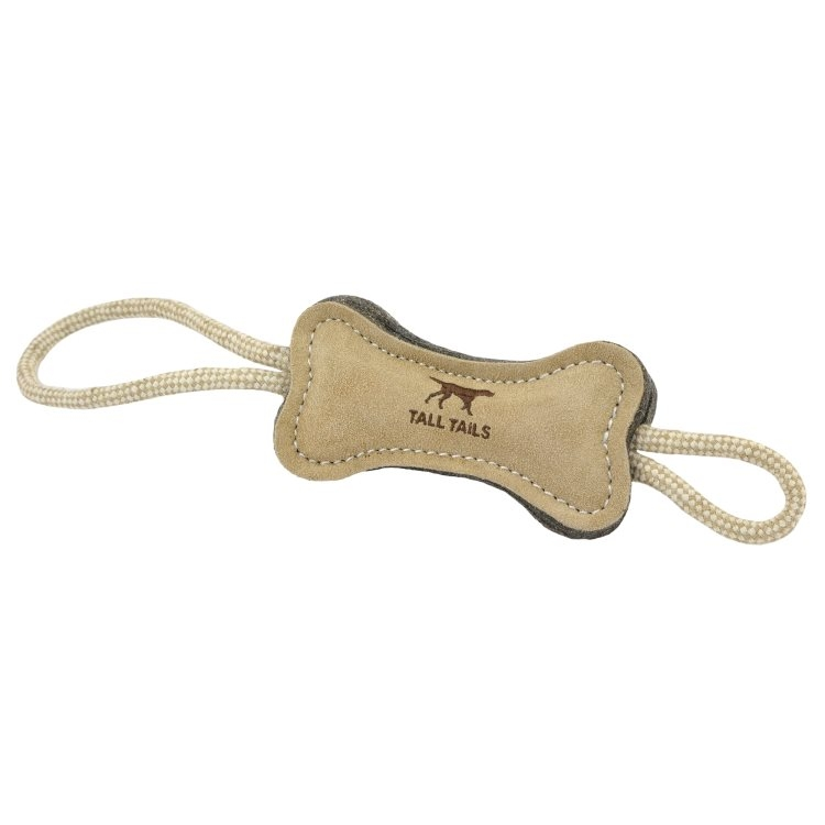 "Tall Tails Natural Leather & Wool Bone Tug (16"")"