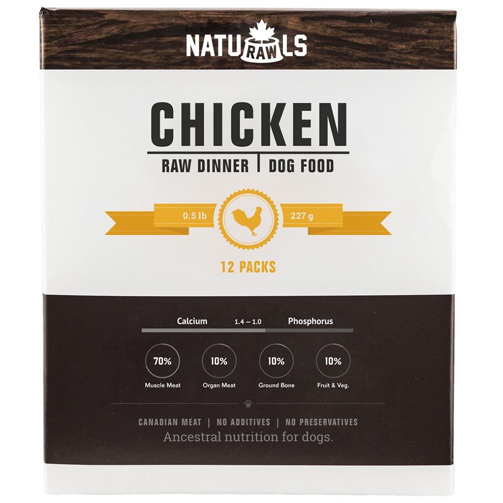 NatuRAWls Chicken & Veggie Raw Diet (1/2 Lb) - 12pk