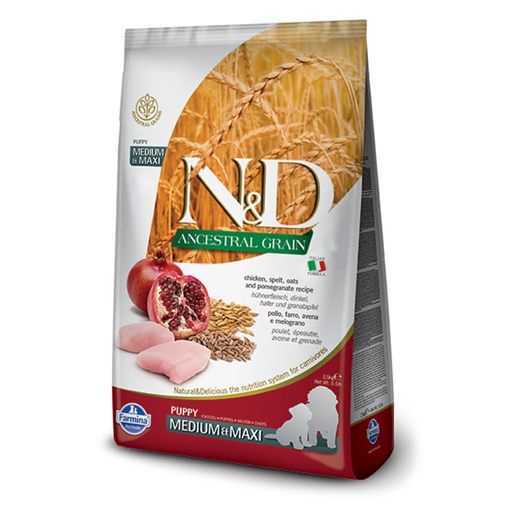 Farmina N&D Ancestral Grain Adult - Chicken & Pomegranate (Med/Maxi)