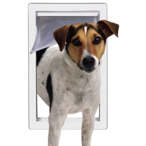 "Plastic Pet Door in White (7""x11"")"