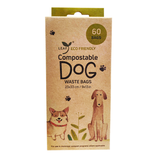Leaf Compostable Unscented Dog Waste Bags (60 Count)